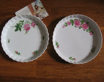 Vintage Pie/Quiche Plates, Christineholm Vintage Rose Tart Dish, Oneida Rose Quiche Pie Plate, New without Tags