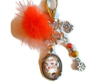 """Keychain bag charm / """"AVS thank you"""" / year end gift / thank you"""