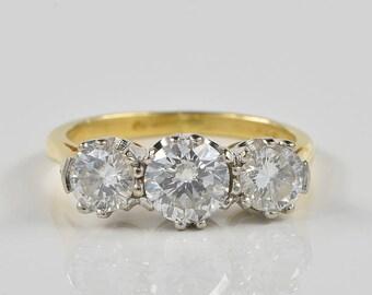Elegant Art Deco 1.30 Ct diamond trilogy ring