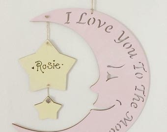 Large i love you to the moon & back (pink)