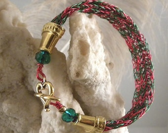 Christmas Hammered Wire Bracelet