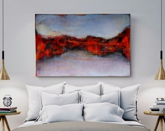 Abstract LANDSCAPE Painting, LARGE Wall Decor, Wall Hangigs Still Life Home Decor, Zhanna Ozolina
