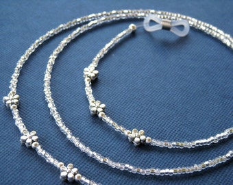 Silver Eyeglass Chain - Antique Silver Flowers - Reading Glasses Chain - Eyeglass Necklace - Eyeglass Holder - Glasses Necklace - Lanyard