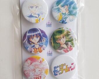 Sailor Moon buttons/pins/badges 6pcs set