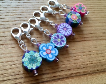 Snag Free FIMO Flower Crochet Stitch Markers Set of 6 - Crochet Tools - Gift for Crocheters - Cute Flower Stitch Markers, Polymer Clay