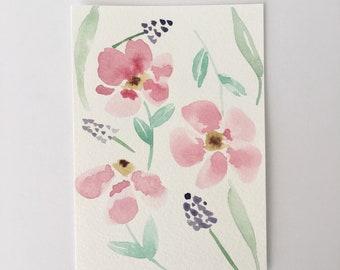 Pink Florals - Original Watercolor Painting - Wall Art - Flower Decor