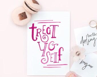 Birthday Card - Treat Yo Self - Birthday Card For Her, Birthday Card Girlfriend, Congratulations Card