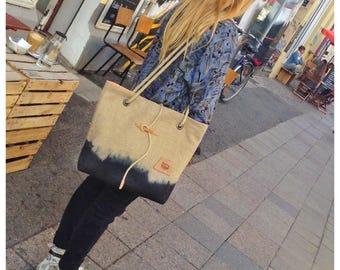 Large tote bag, linen shoulder bag, hobo bag, hand dyed shoulder bag, woman bag, everyday bag, summer bag, large handbag