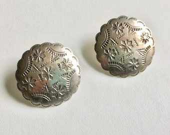 vintage stamped sterling concho post earrings