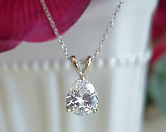 Sale! 3 ct Pear Solitaire Necklace, Floating Pendant, Man Made Diamond Simulant, Bridal Necklace, Wedding Bridesmaid Gift, Sterling Silver