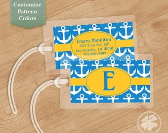 Anchors Luggage Tag, Bag Tag, Backpack Tag, ID Tags, Personalized, Custom