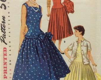 CLEARANCE!!  Simplicity 1077 misses dress, jumper and jacket size 14 bust 32 vintage 1950's sewing pattern