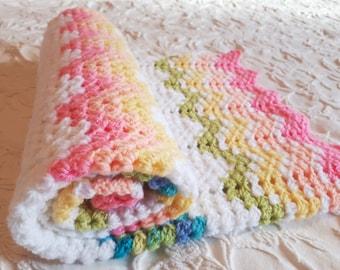 Crochet baby blanket, baby shower gift, stroller blanket, cell blanket, handmade redy to ship