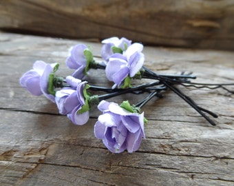 Lilac Rose Wedding Hair Pins, Bridal Hair Pins, Flower Girl Hair Accessories, Beach Wedding Hair Pins, Bridesmaid Hair, Woodland - Set of 6