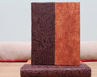 Hardback A5 soft-leather journal with patterned leather detail - blank journal - bullet journal. Hand made in Scotland.