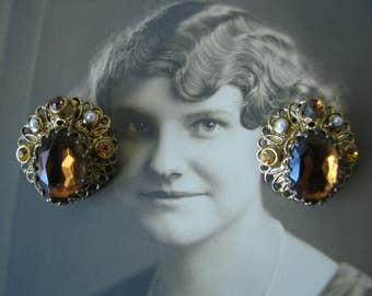 Vintage West German Glass Rhinestone Faux Pearl Antiqued Gold Filigree Clip On Earrings