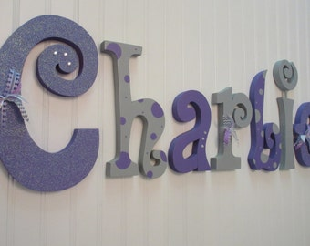 Nursery letters, Baby girl nursery wall hanging letters, purple & gray nursery decor, nursery wall letters