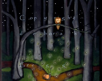 Help Comes When You Least Expect It  Snail, lightning bugs fireflies Barn Owl Woods  PRINT by Deborah Gregg