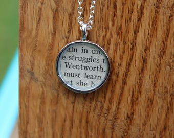 Captain Wentworth - Persuasion Book Page Pendant Necklace - Jane Austen - Literary Jewelry - Book page jewelry