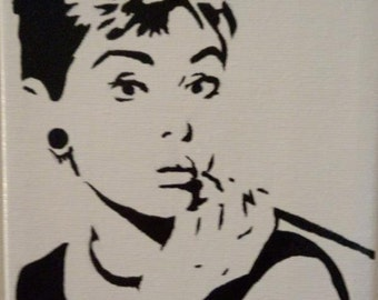 Classic Audrey Hepburn hand painted acrylic on canvas