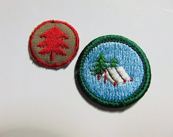 Vintage Girl Scout Merit Badge Patch Tent Camping Pine Tree c. 1970s