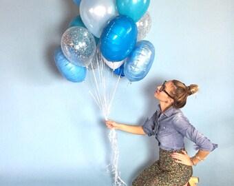 Big Blue Balloon Bouquet | Confetti Balloons
