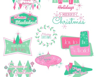 Retro Holiday Images, Christmas, New Years, Christmas Clipart, Holiday Clipart