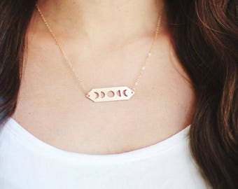 Moon Phases Necklace | Gold or Silver Plated | 14k Gold Fill or Sterling Silver Chain | Celestial Jewelry
