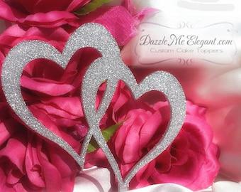 Glitter Cake Topper - Glitter Heart Topper - Custom Wedding Cake Topper - Double Heart - Mr and Mrs - Bride and Groom