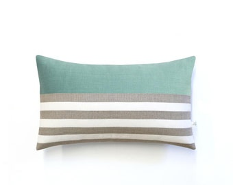 Patterned Stripe Lumbar Pillow Cover in Aqua, Cream and Natural Breton Stripes by JillianReneDecor (12x20) - Spring Home Decor