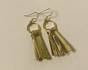Gold faux leather tassel earrings- fierce