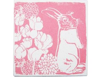 Pink Bunny Framed cloth print, 9x9 inch, Bark cloth silk screened