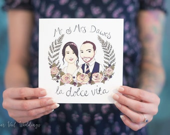 Couple Portrait Illustration - Custom Invite/Stationery