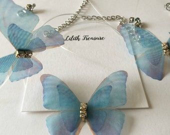 Cute blue butterfly choker