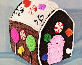 Crochet GINGERBREAD HOUSE Pattern Vintage 70s Crochet CHRISTMAS Gingerbread House Pattern Christmas Decor