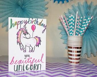 Happy Birthday You Beautiful Unicorn - Birthday Card