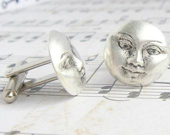 Moon - antique silver finish cufflinks