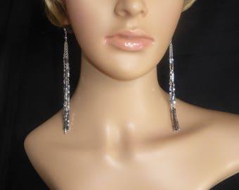 Very Long Cubed Haematite Earrings