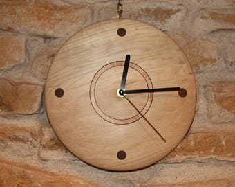 Decorative clock in solid maple wood