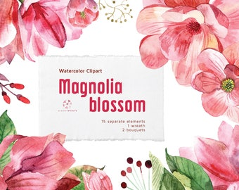 Watercolor Magnolia Clipart | Watercolour Flowers Clip Art set | Floral watercolor illustration | Hand Painted Wedding graphics | invitation