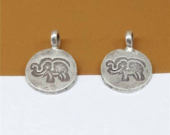 8 Karen Hill Tribe Silver Elephant Charms, Elephant Round Charms, Higher Silver Content than Sterling Silver Elephant Charms - RT840