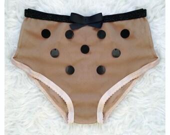 High Waist Beige Panties with Black Dots/Bow/Knickers/Panties/Lingerie/Underwear/Transparent Panties