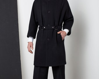 Mens jacket Mens wool jacket Mens black jacket Mens long jacket Mens winter jacket Mens overcoat Mens raincoat minimalist Mens tailored coat