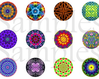 "Kaleidoscope Pins, Kaleidoscpe Magnets,  1"" Flat Back Buttons, 12 ct"