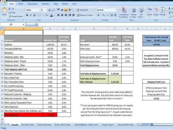 Business Sales Tracker & Expense Tracker Editable Business