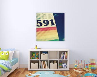childrens art // playroom art // modern nursery art //  large custom size art on canvas - September Wren // special order