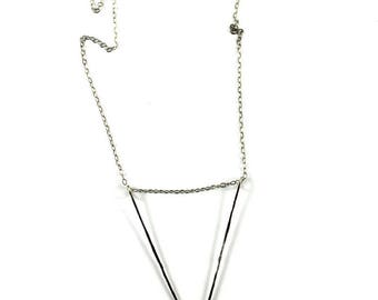 Open triangle hammered Sterling Necklace/ Modern Minimal Necklace/ Geometic Sterling Necklace /Pendant silver necklace /Shop sand and silver
