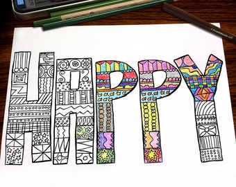Color Me Happy Coloring Page For Adults Handdrawn Word Pattern Relaxation