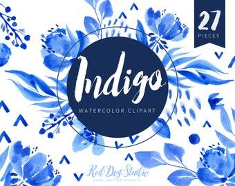 Watercolor Indigo Clipart Graphics, Hand Painted Watercolor Clip Art Images, Japanese Indigo Clipart, Blue Floral Graphics