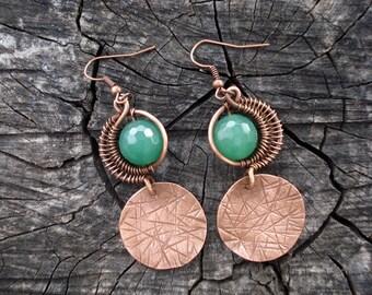 Green earrings, Circle metal earrings, Copper round earrings, Chandelier natural stone adventur erearrings, Modern boho style women gift